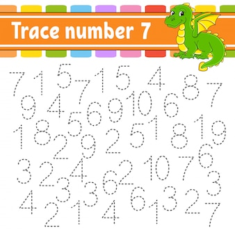 Trace number 7. handwriting practice. learning numbers for kids.