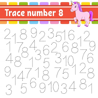 Trace number 8. handwriting practice. learning numbers for kids.