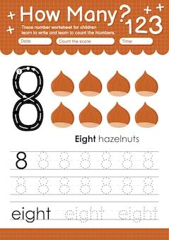 과일 및 야채 헤이즐넛이 포함된 유치원 및 미취학 아동을 위한 추적 번호 8 워크시트