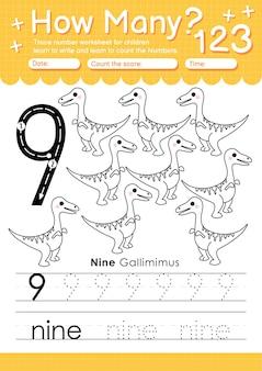 유치원 및 유아 아동을위한 추적 번호 9 워크 시트