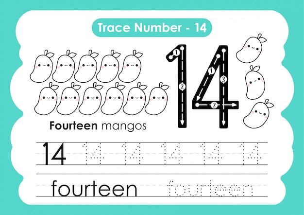 Trace number fourteen - for kindergarten and preshool kids
