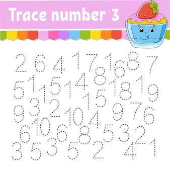 トレース番号。手書きの練習。子供のための学習番号。教育開発ワークシート。活動ページ。