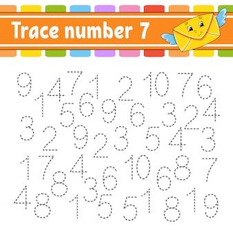 トレース番号。手書きの練習。子供のための学習番号。教育開発ワークシート。