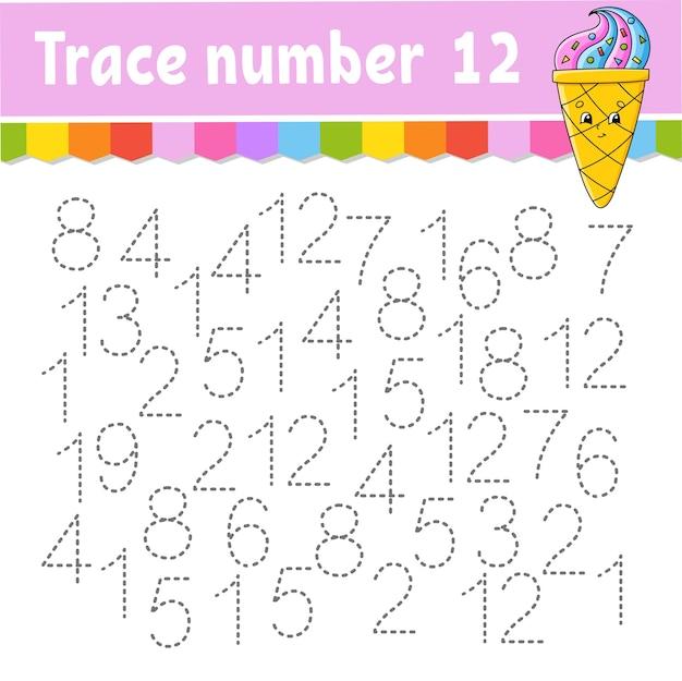トレース番号。手書きの練習。子供のための学習番号。