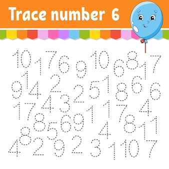 Trace number . handwriting practice. learning numbers for kids. education developing worksheet.