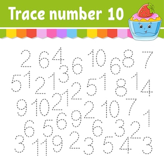 Trace number . handwriting practice. learning numbers for kids.