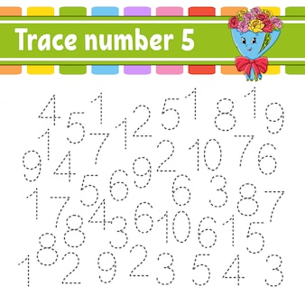 Trace number. handwriting practice