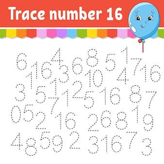 Trace number . handwriting practice.