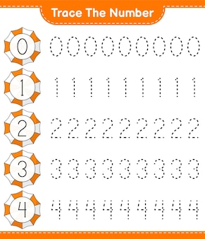 Trace the number tracing number with beach umbrella educational children game printable worksheet