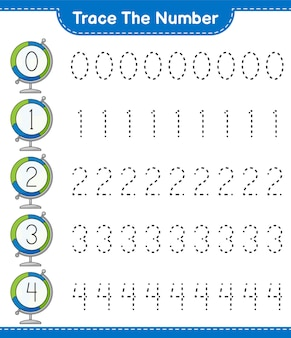 Trace the number tracing number with globe educational children game printable worksheet