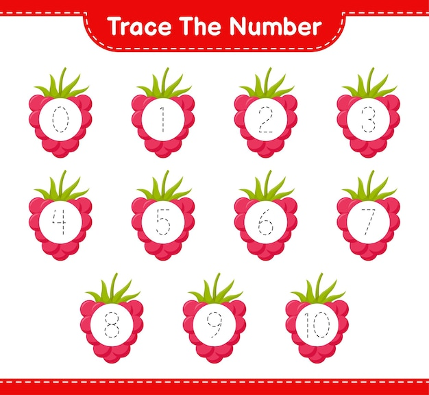 Trace the number. tracing number with raspberries. educational children game, printable worksheet