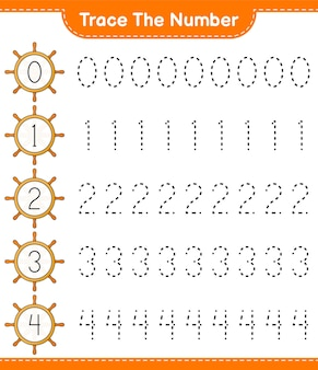 Trace the number tracing number with ship steering wheel educational children game