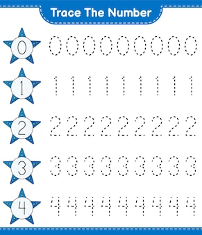 Trace the number tracing number with starfish educational children game printable worksheet