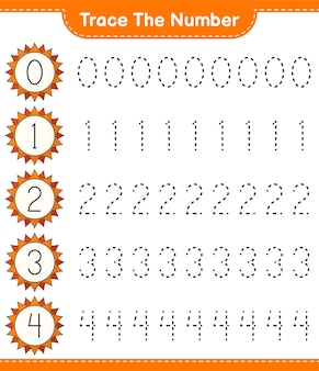 Trace the number tracing number with sun educational children game printable worksheet