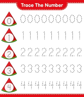 Trace the number tracing number with watermelon educational children game printable worksheet