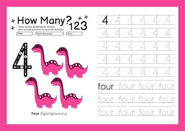 就学前の4番の練習用ワークシートと学習用の数字を書くトレース番号4