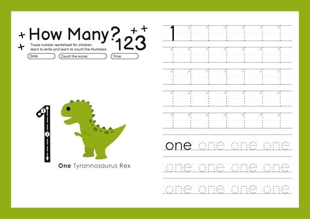 추적 번호 쓰기 연습 워크시트 및 유치원 번호 1을 위한 학습 번호 1