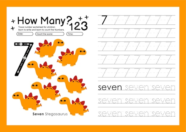추적 번호 쓰기 연습 워크시트 및 유치원 번호 7을 위한 학습 번호 7