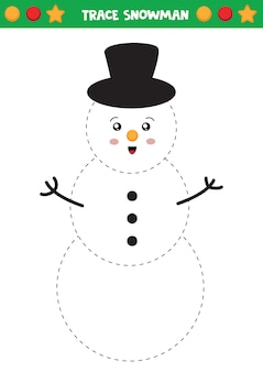 Trace the snowman handwriting practice for kids.