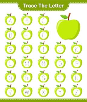 文字をなぞります。 appleとの手紙の追跡。教育的な子供向けゲーム、印刷可能なワークシート