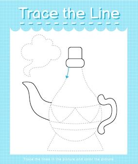 Проведите линию по пунктирным линиям и раскрасьте картинку волшебная лампа аладдина.
