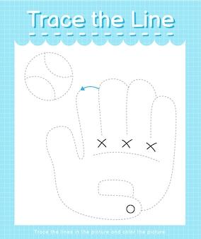 Проведите линию, следующую за пунктирными линиями, и раскрасьте изображение бейсбольной перчатки.