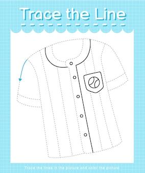 Проведите линию по пунктирным линиям и раскрасьте изображение бейсбольной рубашки.