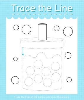 Обведите линию следом за пунктирными линиями и раскрасьте картинку чай боба