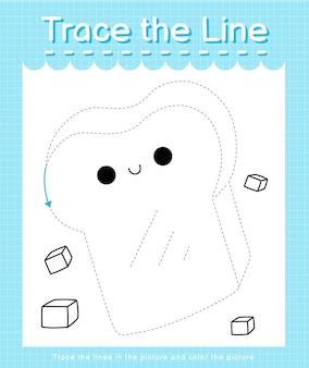 Обведите линию, следующую за пунктирными линиями, и раскрасьте изображение хлеба.