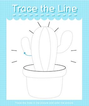 Проследите линию следа по пунктирным линиям и раскрасьте картинку кактус