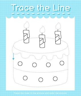 Проведите линию по пунктирным линиям и раскрасьте торт.