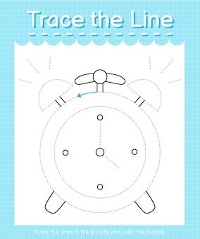 Обведите линию, следующую за пунктирными линиями, и раскрасьте изображение часов.