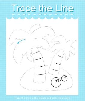 Проследите линию следа за пунктирными линиями и раскрасьте картинку кокосовой пальмы.