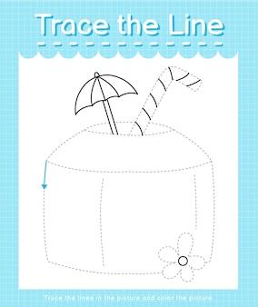 Проследите линию следа за пунктирными линиями и раскрасьте картинку кокосом