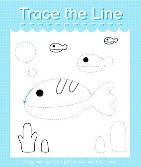 Обведите линию, следующую за пунктирными линиями, и раскрасьте изображение рыбьим цветом.