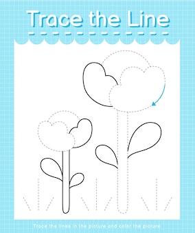 점선을 따라 선 궤적을 긋고 그림 꽃에 색칠하기