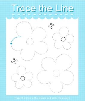Проведите линию по пунктирным линиям и раскрасьте изображение цветка.