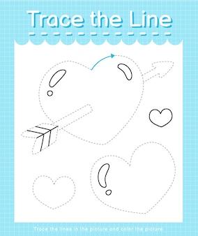 Проведите линию по пунктирным линиям и раскрасьте сердечко на картинке.