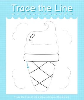 점선을 따라 선 궤적을 긋고 그림 아이스크림에 색을 입힙니다.