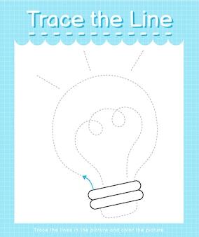Проведите линию по пунктирным линиям и раскрасьте лампочку на картинке.
