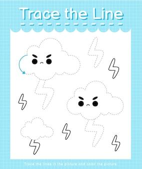 Проведите линию по пунктирным линиям и раскрасьте изображение молнией.
