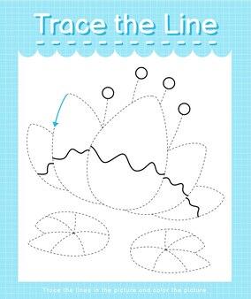 Обведите линию, следующую за пунктирными линиями, и раскрасьте изображение лотоса.