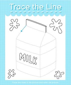 Проведите линию, следующую за пунктирными линиями, и раскрасьте картинку молоком.