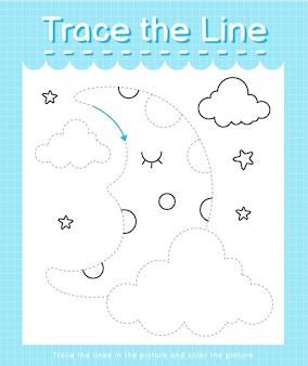 Обведите линию, следующую за пунктирными линиями, и раскрасьте картинку мычание.