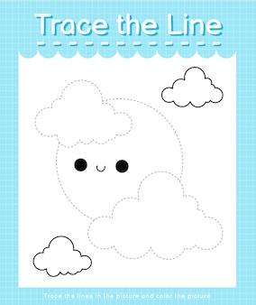 Обведите линию, следующую за пунктирными линиями, и раскрасьте изображение луны.