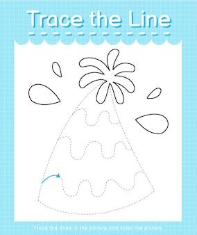 Обведите линию, следующую за пунктирными линиями, и раскрасьте шляпу для вечеринки.
