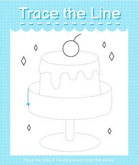 Обведите линию, следующую за пунктирными линиями, и раскрасьте пудинг с картинкой.