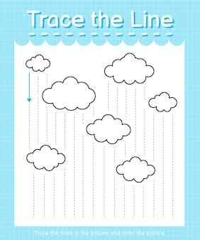 Обведите линию: проведите по пунктирным линиям и раскрасьте картинку - дождь