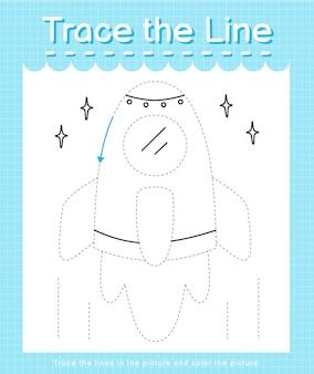 Обведите линию, следующую за пунктирными линиями, и раскрасьте скалу изображения.