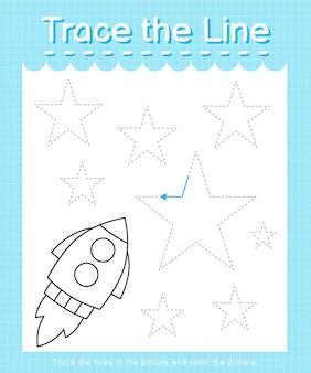 Обведите линию: проведите по пунктирным линиям и раскрасьте картинку - ракета